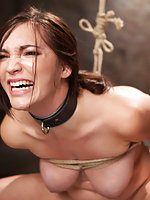 Busty slut trained and dildoed in predicament bondage