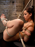 Hot naked brunette gets bound and fucked in every hole