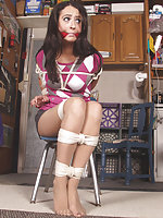 Pretty brunette gets roped and cleave-gagged