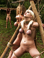 Three naked girls roped and suspended outdoors