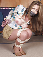 Beauty roped, tape-gagged and undressed