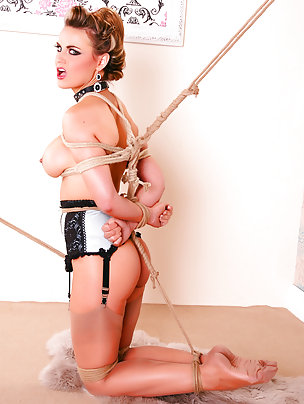 English whore clamped, gagged, tied, crotch-rope fucked