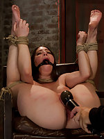 Bound to a chair in helpless position, fingered and vibed