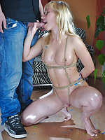 Blonde roped, waxed, pegged and fucked