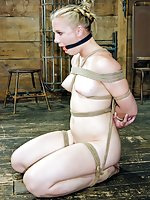 Blonde cutie roped naked, gagged, trained
