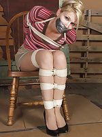 Cute blond roped and tape-gagged