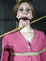 Cute lady gets roped, stripped, clamped, and suspended