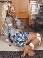 Blonde cutie gets roped and cleave-gagged