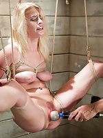 Tall blond gets tied tight, vibed and dildoed