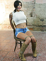 Billie chair-tied, cleave-gagged, tit-grabbed