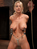 Roped, tits clamped and weighted, crotch roped and vibed