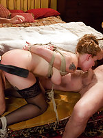 Maid helplessly bound and fucked by sadistic couple