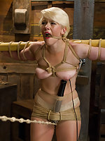 Blond college student tied tight and vibed, her slutty mouth gagged