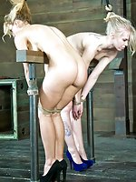 Two bound blondies cry and cum together