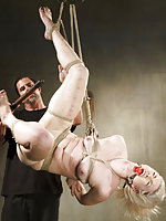 Blond gets roped, suspended, pegged, fingered, vibed